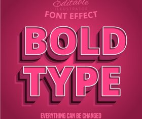 Bold type 3d font effect editable text vector