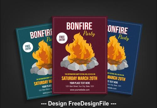 Bonfire party poster vector