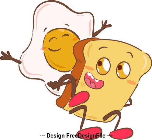 Breakfast cartoon illustration vector