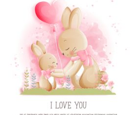 Bunnies and happy easter style paper vector