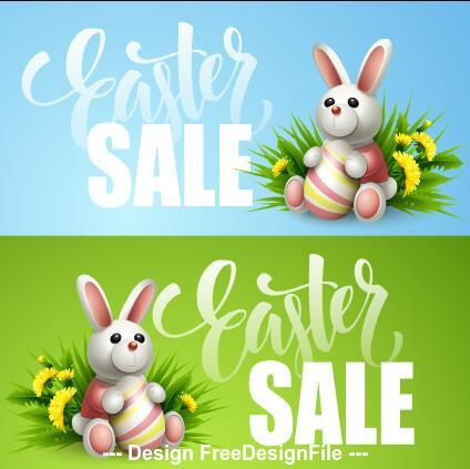 Bunny and Easter eggs sale banner vector