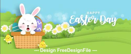 Bunny basket easter banner vector