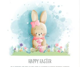 Bunny cartoon illustration holding egg vector