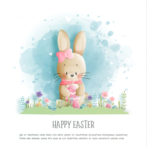 Bunny cartoon illustration holding egg vector