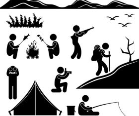 Camping matchstick men vector