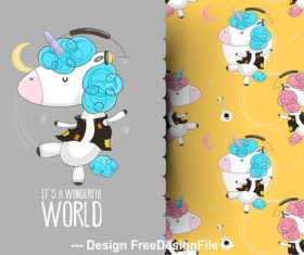 Cartoon animal background pattern vector