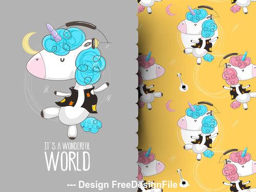 Cartoon animal background pattern vector