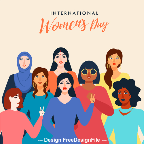Cartoon background march 8 world womens day vector