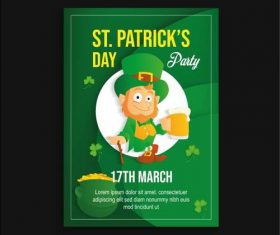 Cartoon character green patricks day poster vector
