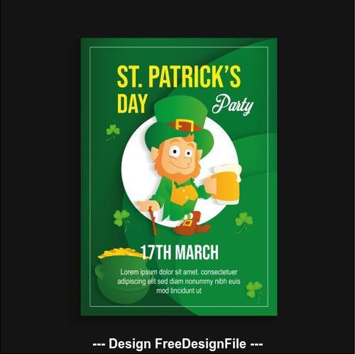 Cartoon character green patricks day poster vector