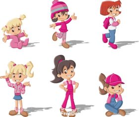 Cartoon cute girl vector