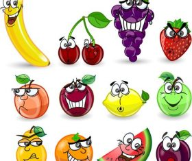 Cartoon fruit emoji icon vector