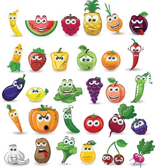 Cartoon fruit icon vector