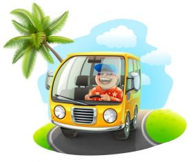 Cartoon happy driving trip vector