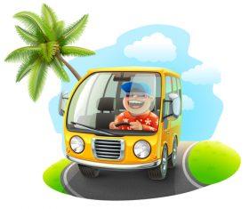 Cartoon happy driving trip vector