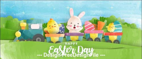 Cartoon happy easter day illustration vector