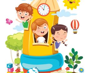 Cartoon happy kids and pencil room playing vector