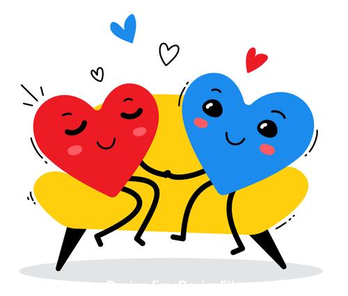 Cartoon hearts holding hands illustration vector