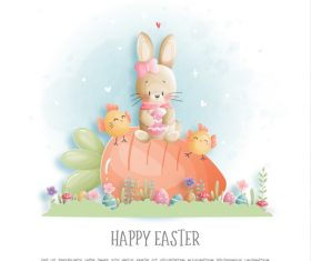 Cartoon illustration happy easter water vector