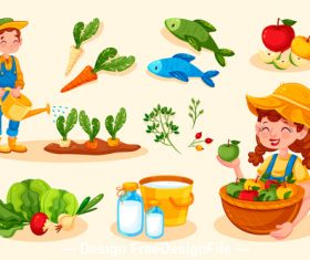 Cartoon illustration organic farming food vector