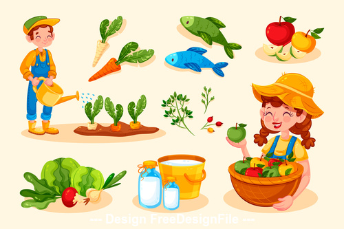Cartoon illustration organic farming food vector