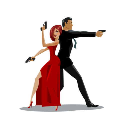 Cartoon illustration spy vector