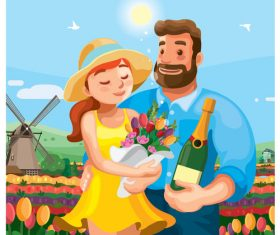 Cartoon illustration valentine day vector