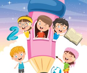 Cartoon kids playing in pink pencil room vector