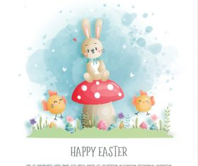 Cartoon rabbit and chick easter egg watercolor vector
