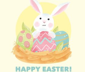 Cartoon rabbit and easter egg card vector