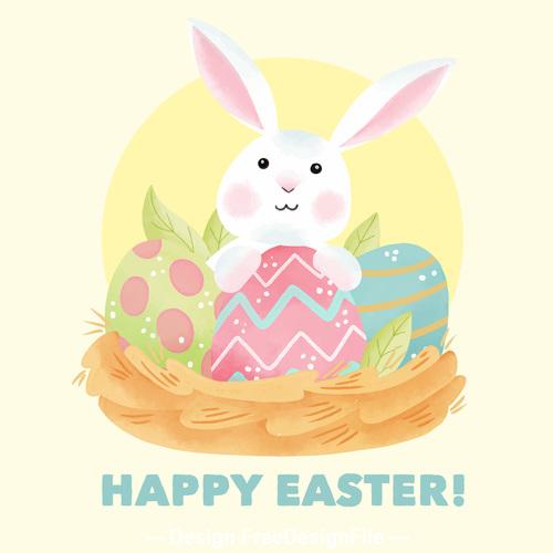 Cartoon rabbit and easter egg card vector
