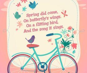 Cartoon spring greeting card vector