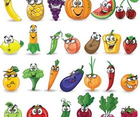 Cartoon vegetable and fruit mixed icon vector