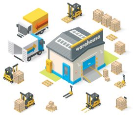 Cartoon warehouse vector