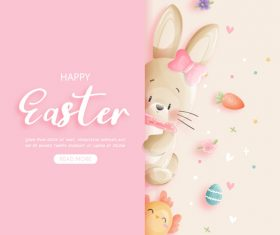 Cartoon watercolor painting easter element vector