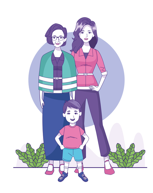 Cartoon women and small children vector