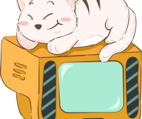 Cat cartoon illustration lying on TV vector