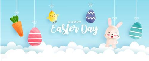 Chick bunny easter egg cartoon day vector