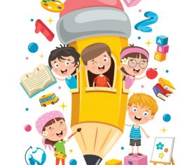 Child playing in pencil room cartoon vector