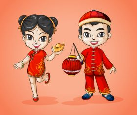China style new year cartoon character vector