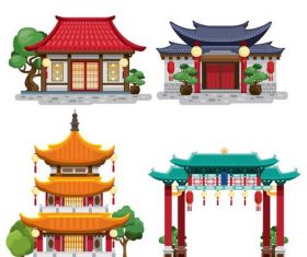 Chinese style building illustration vector