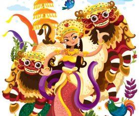 Chinese style cartoon lion dance illustration vector
