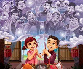 Chinese style spring festival sacrifice illustration vector