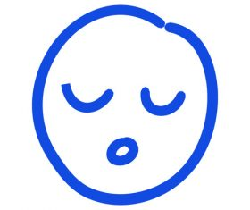 Closed eyes hand drawn emoji vector