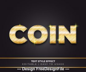 Coin 3d font effect editable text vector