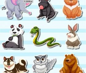 Collection animal stickers vector
