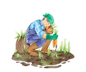 Collection carrot cartoon illustration vector
