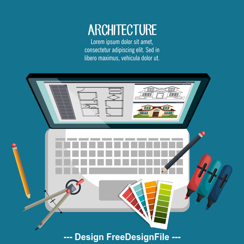 Color pen and tablet design tool vector