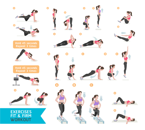 Complete woman aerobics icon vector