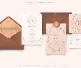 Copper blush wedding stationery vector